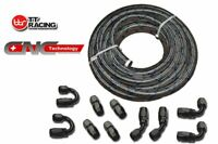 AN Braided Stainless Steel Blue Tracer Hose 20ft & 10 Fittings Kit E85 friendly