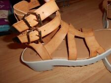 Composition Leather Wide (E) Casual Heels for Women