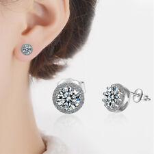 Stud Earrings For Women Wedding Jewelry Muye 925 Sterling Silver Shiny Crystal