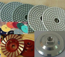 """5"""" Polishing Pad 8 PCS Granite Concrete Aluminum Back Cup Wheel Travertine Stone"""