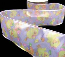 """10 Yds Purple Easter Chicks Sheer Wired Ribbon 2 1/2""""w"""
