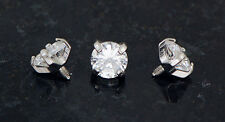 3 Pc 4 mm Clear CZ Extra Bling Prong Set Gem Dermal Anchors Heads Top 14g