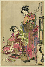 Japanese Art Print: Geishas Dressing for a Festival : Utamaro Reproduction