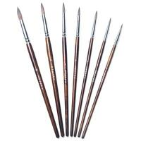 Art Brushes Sable Hair Round Paint Brush Set of 7 Assorted Sizes for Watercolor