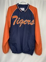 Detroit Tigers Baseball V Neck Long Sleeve Pullover Blue Orange Mens Medium M