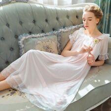 Lolita Lace Nightgown Princess Dresses Loose Puff Short Sleeve Sleepwear Nightie