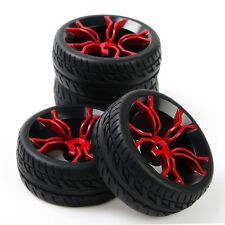 4x RC 1/10 Flat Tire Wheel Rims 12mm Hex For HSP Racing On Road Car PP0150+MPNKR