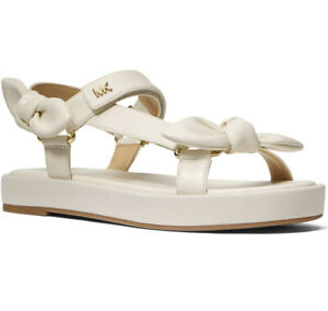 NIB Size 8 Michael Kors MK Phoebe Nappa Leather Sandal Lt Cream
