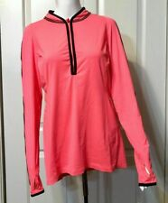 NWT Hind Hot Pink Long Sleeve Mandarin Collar Stretch Workout Top Womens Large