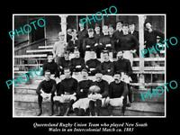 OLD LARGE HISTORIC PHOTO OF THE QUEENSLAND RUGBY UNION TEAM c1883