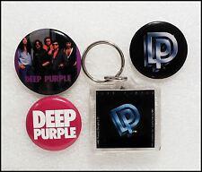 Deep Purple Lot Of 3 Original 80's Buttons Badges & Perfect Strangers Key Chain