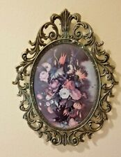 """VINTAGE VICTORIAN BRASS metal Oval ornate picture  Frame 13"""" Flowers"""