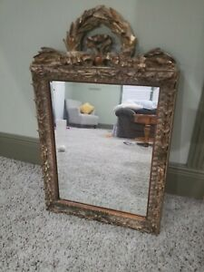 Vintage French Provincial Ornate Gold Wall Mantle Mirror heavy beveled 31.5x19.5