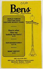 1983 Vintage ENGLISH Brochure BEN'S RESTAURANT Charcuterie Montreal Canada QC