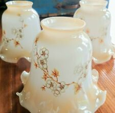 Vintage Small Glass Lustre Lamp Shades 3 Ruffled Floral Ceiling Fan Lt Beige EUC