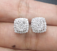 DEAL! 1.25CTW NATURAL ROUND DIAMOND CLUSTER HALO STUDS EARRINGS IN 14K GOLD 9MM