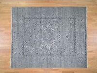 """8'3""""x10'1"""" Silk With Oxidized Wool Broken Design HandKnotted Village Rug G44224"""