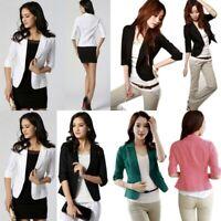 Women OL Work Office Jacket Coat Lady 3/4 Sleeve Casual Blazer Suit Outwear USA