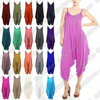 New Ladies Thin Strappy Plain Baggy Harem Cami Drape Lagenlook Jumpsuit Playsuit