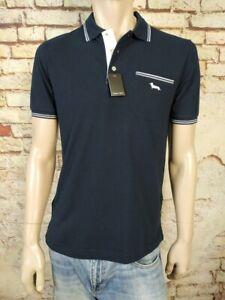 New Harmont & Blaine Polo Shirt Short Sleeve Size M-3XL Dark Blue