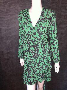 NEW WITH TAGS - JOHN ZACK GREEN & BLACK WRAP DRESS FRILL - UK 12