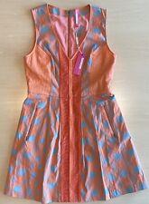 NWT Plenty Tracy Reese Orange Blue Arrow Print Fit Flare Sleeveless Dress Sz 12
