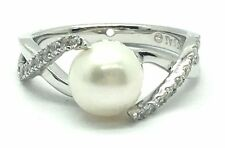 Sterling Silver 925 Cream Pearl CZ Pave Split Wave Swirl Twist Cocktail Ring