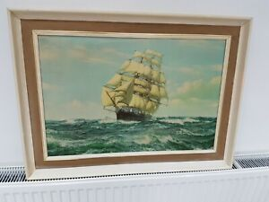 Montague Dawson Racing Home - The Cutty Sark print in a wooden frame