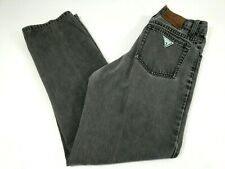 Vintage Guess Jeans Men Green Triangle Logo Straight Faded Size 27x28 Black Gray