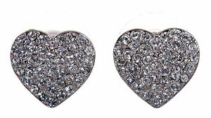 Crystals From Swarovski Alana Heart Stud Earrings Rhodium Plated Authentic 7270v