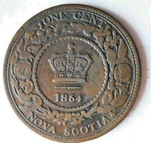 1864 NOVA SCOTIA CENT - High Value Rare Vintage Coin - lot #L22
