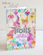PERSONALISED TROLLS A5 Birthday Card - Child's Girls Daughter Granddaughter