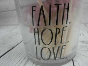 Rae Dunn Jar w/ Wood Matches Faith Hope Love Jar w/250 Matches w/ Strike Paper