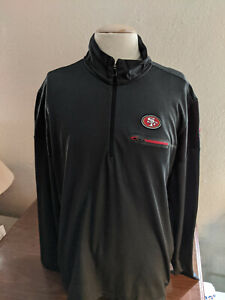 NFL San Francisco 49ers Football 1/4 Zip Pullover Black W/Zip Pocket Size XL