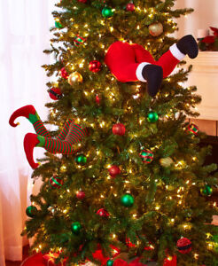 Hilarious Santa Claus Stuck In the Christmas Tree Hanger Decoration