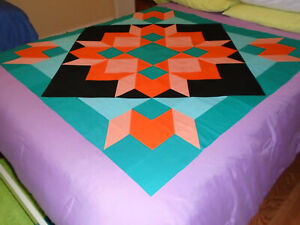"""new quilt TOP unfinished SWOON """"Pacific Coral"""" 48.5"""" Orange/Peach/Teal/Aqua/Blac"""
