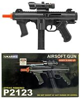 "UK Arms 11"" Black Spring Airsoft Pistol Hand Gun P2123 Rail Mount Laser 1000 BBs"