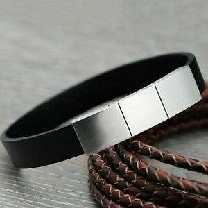 Mens Leather Bracelet Wristband with Stainless Steel Magnetic Clasp