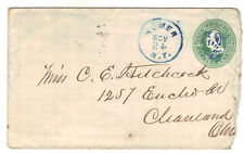 c1874 Homer NY Blue handstamp stationery Cortland County Cleveland OH Carrier