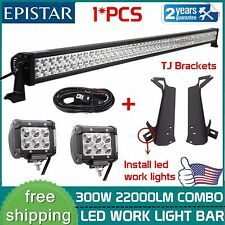 "52"" 300W Led Light bar+2X4'' 18W+Wiring kit+Mount Brackets for Jeep Wrangler TJ"