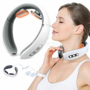 Intelligent Portable Neck Massager Heat Pulse Vibration Pain Relief Machine US