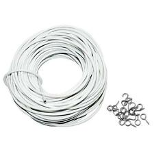 30m White Window Net Curtain Wire 100FT Long Hanging Cord/Cable 10 Eyes 10 Hooks