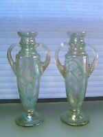 Antique Bohemian Pair Iridescent Glass Vases