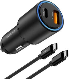 Samsung Super Fast Car Charger 45W USB C S21 S20 Ultra Plus 5G Note 10 20 iPhone