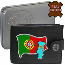 PORTUGAL Mens Leather Wallet PORTUGUESE Flag map and Emblem Mans gift Porto Tin
