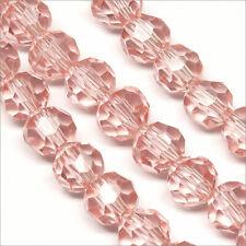 Lot de 20 perles à FACETTES 6mm en Cristal DE Bohème Rose clair
