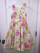 Jona Michelle Girl 8 Dress Yellow Pink Flower Spring Easter Dressy Holiday party