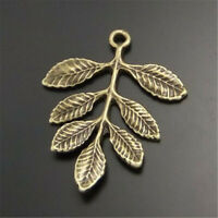 free ship 60 pieces bronze plated leaves pendant 48x26mm #2012