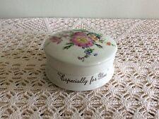 """Ceramic Circular Trinket Pot, 'Especially for you', 4"""" Diameter"""