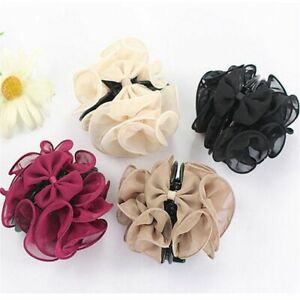 Women Hairgrips Jaw Clip Bow Chiffon Rose Flower Hair Claw Barrette Hairpins